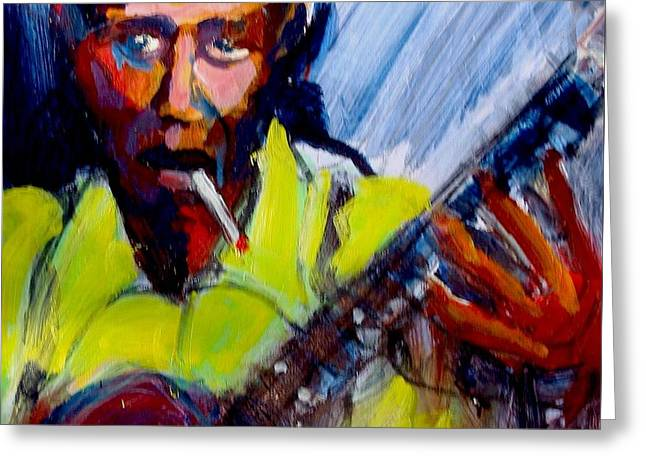 Greeting Card featuring the painting Robert Johnson by Les Leffingwell