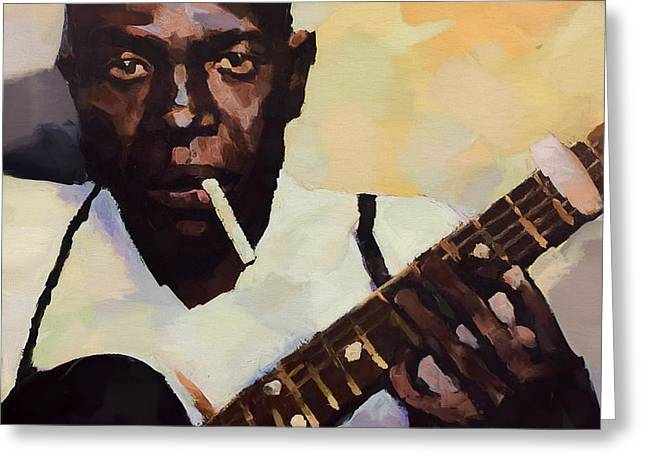 Robert Johnson Plays The Blues Greeting Card by Dan Sproul
