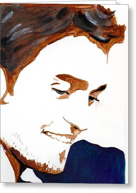 Greeting Card featuring the painting Robert Pattinson 14 by Audrey Pollitt