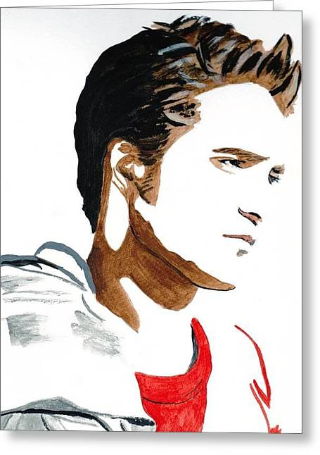 Greeting Card featuring the painting Robert Pattinson 17 by Audrey Pollitt