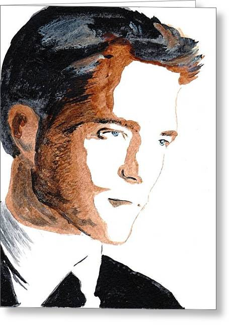 Greeting Card featuring the painting Robert Pattinson 18 by Audrey Pollitt