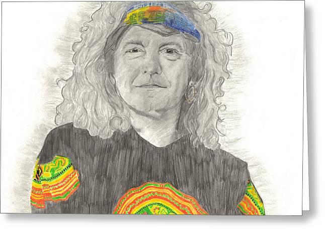 Robert Plant Greeting Card by Bari Titen