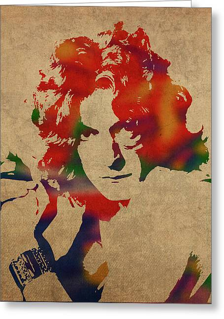 Robert Plant Led Zeppelin Watercolor Portrait Greeting Card