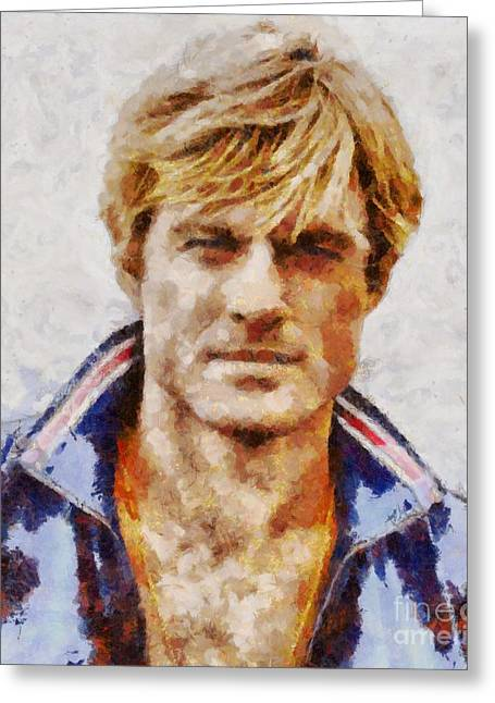 Robert Redford Hollywood Actor Greeting Card by Sarah Kirk