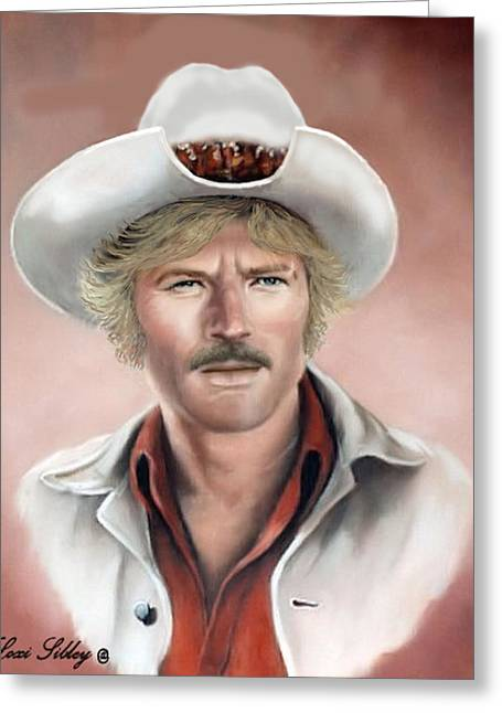 Greeting Card featuring the painting Robert Redford by Loxi Sibley