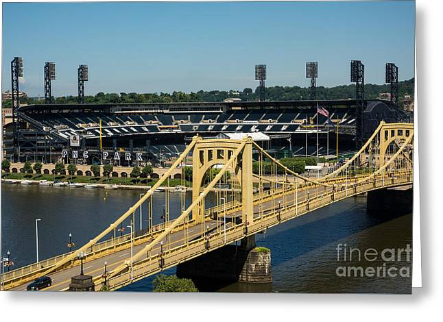 Roberto Clemente Bridge And Pnc Park Pittsburgh Pennsylvania Greeting Card by Amy Cicconi