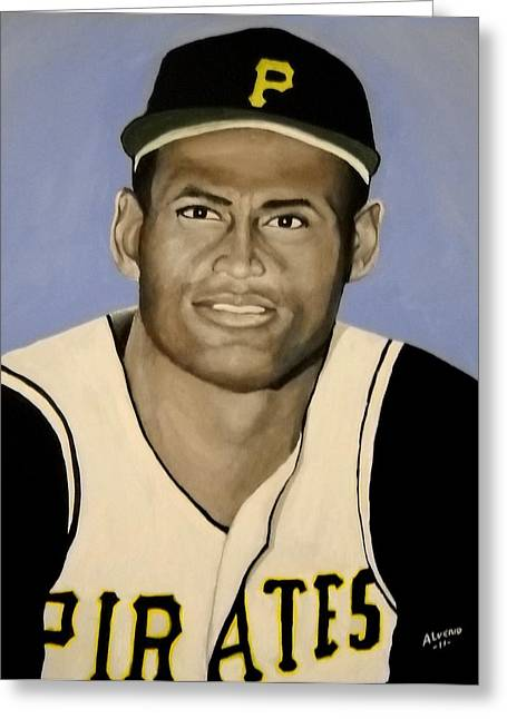 Clemente Paintings Greeting Cards - Roberto Clemente Greeting Card by Edwin Alverio