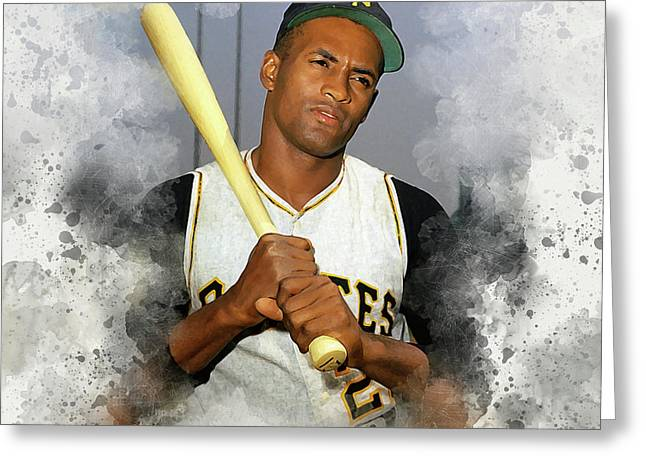 Roberto Clemente Greeting Card by Karl Knox