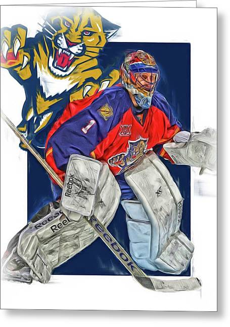 Roberto Luongo Florida Panthers Oil Art Greeting Card by Joe Hamilton