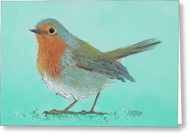 Robin Bird Painting Greeting Card by Jan Matson