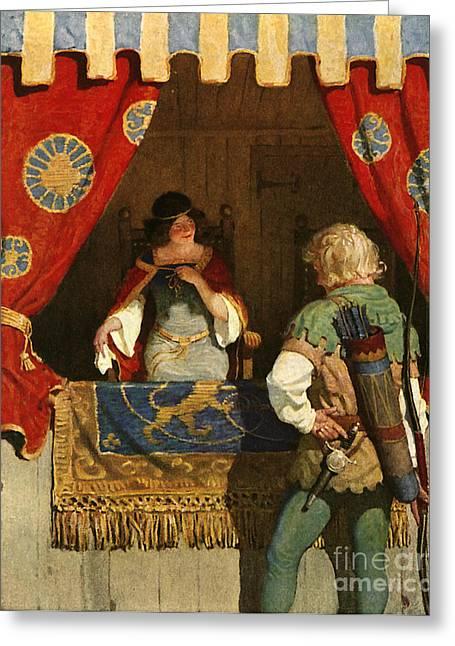 Robin Hood Meets Maid Marian Greeting Card by Newell Convers Wyeth