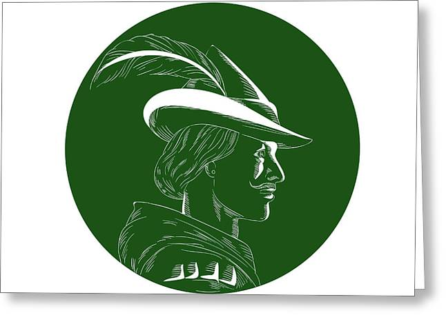 Robin Hood Side Profile Circle Woodcut Greeting Card by Aloysius Patrimonio