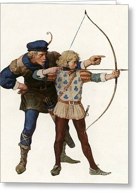 Robin Hood Trains A Young Archer Greeting Card by Newell Convers Wyeth