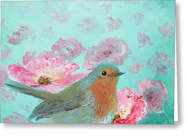 Robin In A Field Of Poppies Greeting Card by Jan Matson