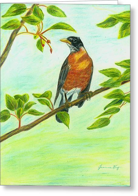 Greeting Card featuring the painting Robin In Spring by Jeanne Kay Juhos