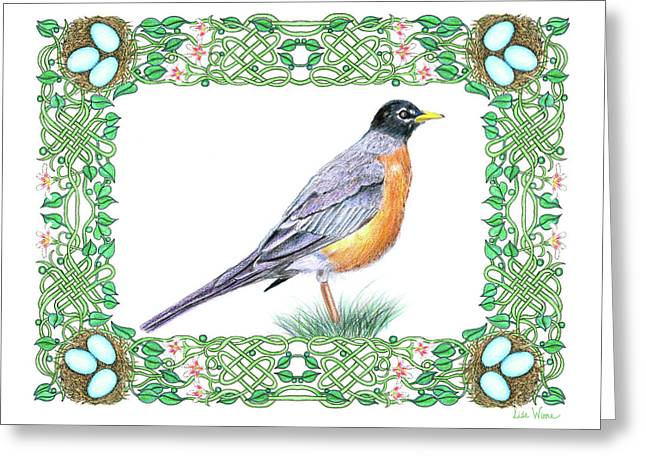 Greeting Card featuring the drawing Robin In Spring by Lise Winne