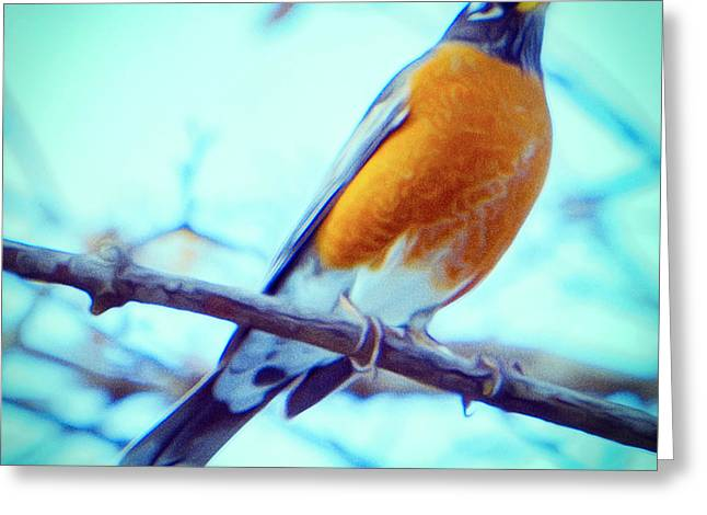 Robin Red Breast In Winter - Impressionism Greeting Card