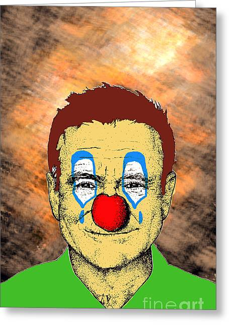 Greeting Card featuring the drawing Robin Williams 1 by Jason Tricktop Matthews
