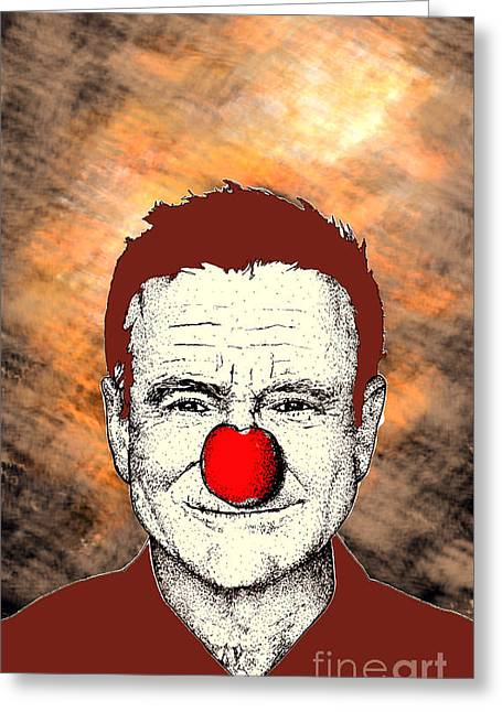 Greeting Card featuring the drawing Robin Williams 2 by Jason Tricktop Matthews