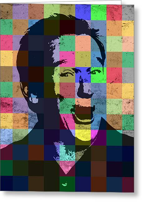 Robin Williams Actor Hollywood Pop Art Patchwork Portrait Pop Of Color Greeting Card by Design Turnpike