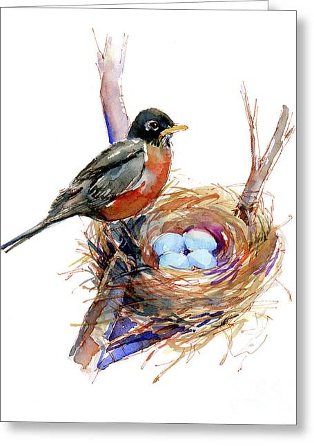 Robin With Nest Greeting Card