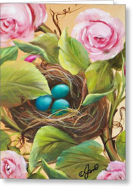 Robin's Nest Greeting Card by Joni McPherson