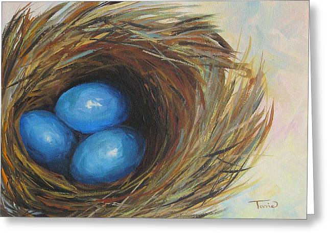 Robin's Three Eggs Greeting Card by Torrie Smiley