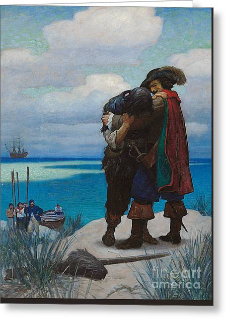 Robinson Crusoe Saved Greeting Card by Newell Convers Wyeth