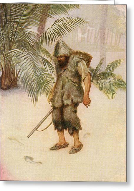 Robinson Crusoe Sees A Footprint In The Greeting Card