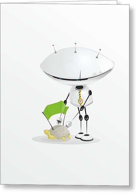 Robot - Asked Tortoise Greeting Card by Sergey Ponkratov