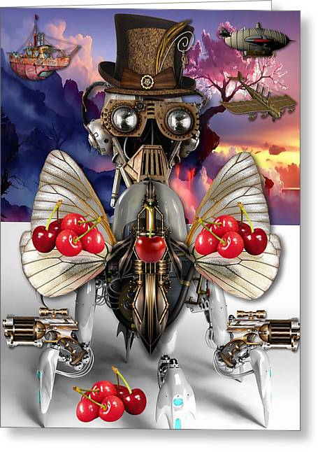 Robot Cherry Greeting Card by Marvin Blaine