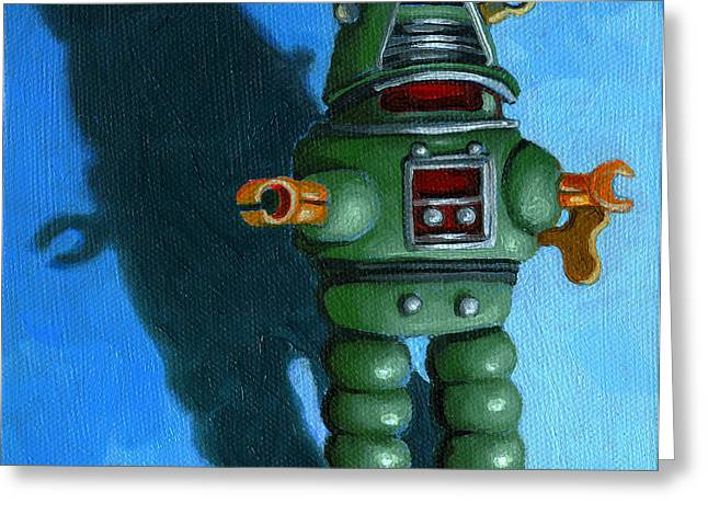 Toy Greeting Cards - Robot Dream - realism still life painting Greeting Card by Linda Apple