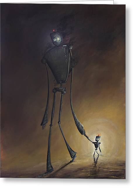 Robot Father And Son Greeting Card by Austin Howlett
