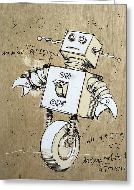 Robot Greeting Card by H James Hoff