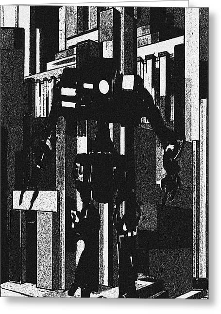 Giant Robot Greeting Cards - Robot Invader Greeting Card by Jerry L Barrett