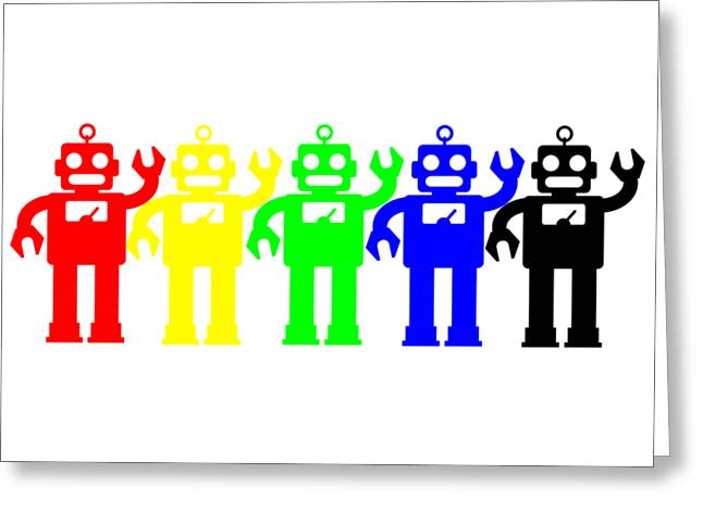 Robot Lives Matter Rainbow Tee Greeting Card by Edward Fielding