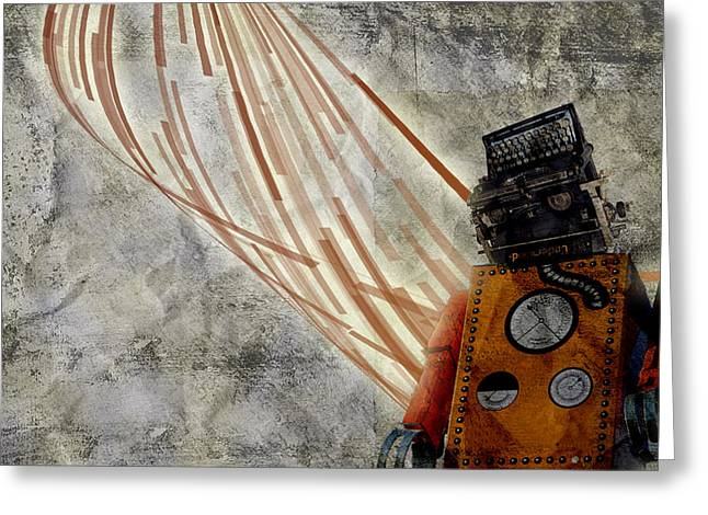 Robot Love Greeting Card by Shawn Ross
