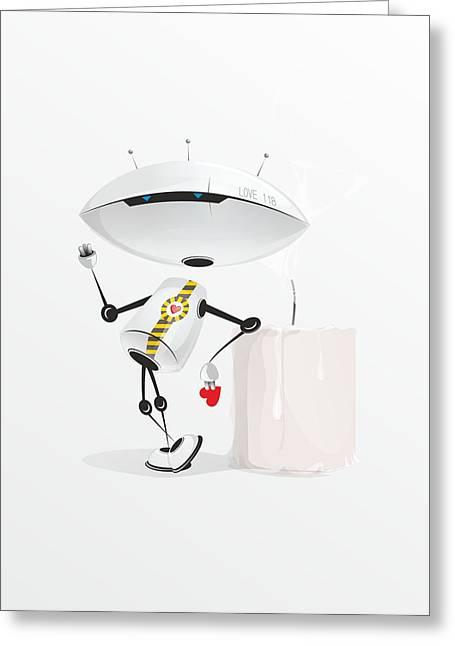 Robot Romance Greeting Card by Sergey Ponkratov