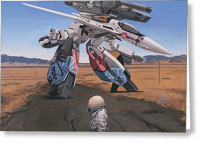 Greeting Card featuring the painting Robotech by Scott Listfield