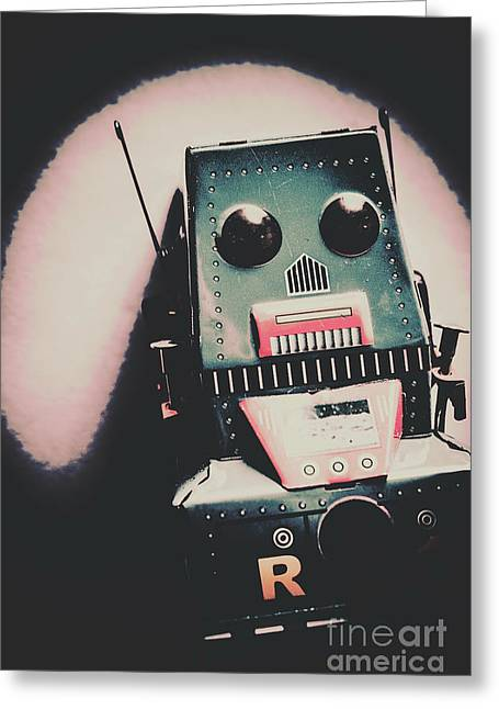Robotic Mech Under Vintage Spotlight Greeting Card by Jorgo Photography - Wall Art Gallery