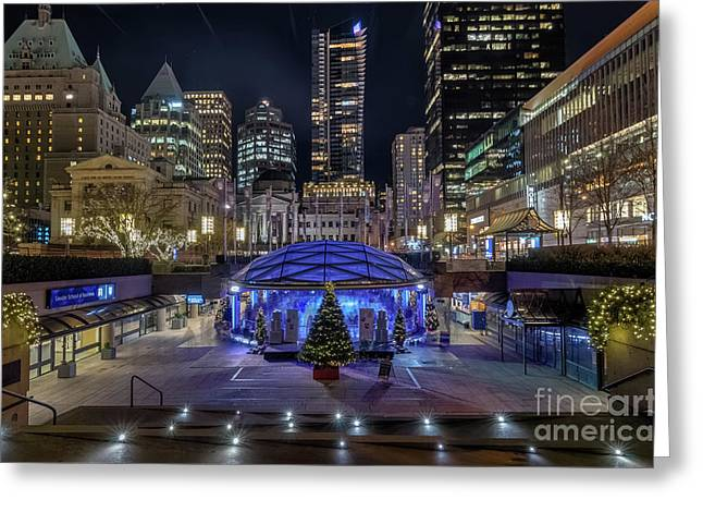 Robson Square At Night Greeting Card by Victor Andre