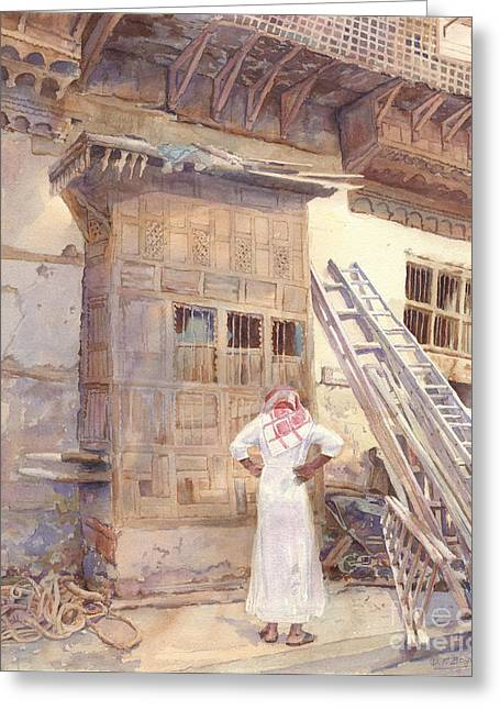 Sunlit Door Greeting Cards - Rochan with Figure Greeting Card by Dorothy Boyer