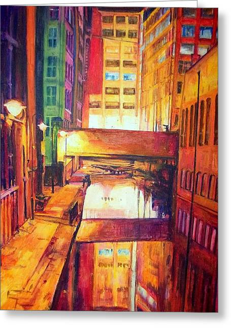 Rochdale Canal With Lock At Night Greeting Card