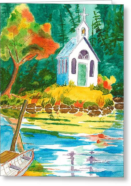 Roche Harbor Chapel Greeting Card by Buster Dight