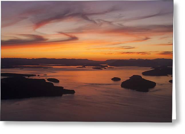 Roche San Juan Islands Aerial Sunset Greeting Card by Mike Reid