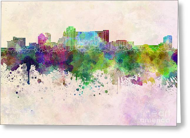 Rochester Mn Skyline In Watercolor Background Greeting Card by Pablo Romero