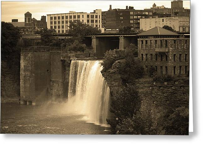 Greeting Card featuring the photograph Rochester, New York - High Falls 2 Sepia by Frank Romeo