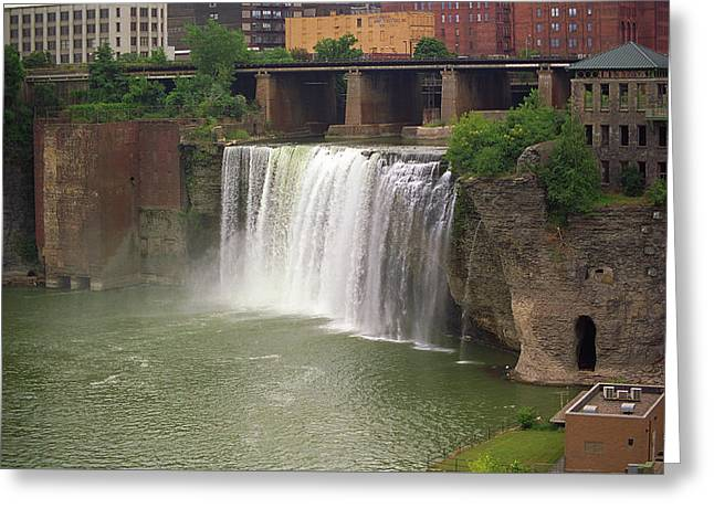 Greeting Card featuring the photograph Rochester, New York - High Falls by Frank Romeo