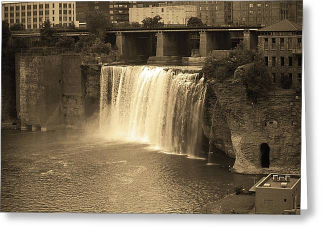 Greeting Card featuring the photograph Rochester, New York - High Falls Sepia by Frank Romeo