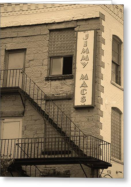 Greeting Card featuring the photograph Rochester, New York - Jimmy Mac's Bar 2 Sepia by Frank Romeo